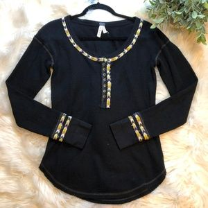 Free People Black Thermal Embroidered Woven Top